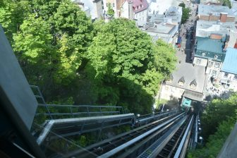 Canada-Quebec City-funicular train-view of Lower Town
