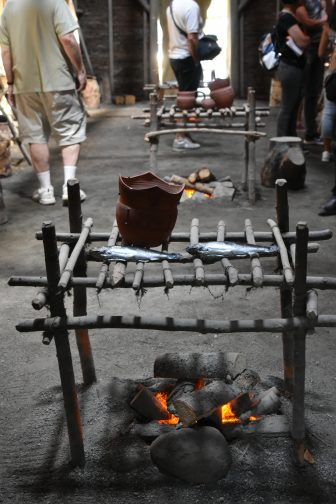 Canada-Quebec-Wendake-Huron People-Onhoüa Chetek8e-Long House-fireplaces