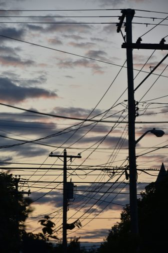 Canada-Prince Edward Island-Charlottetown-twilight-cables-telegraph poles