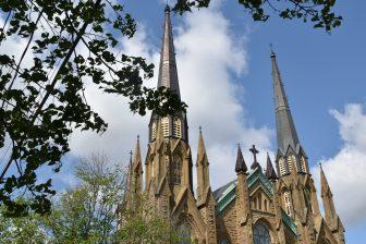 Canada-Prince Edward Island-Charlottetown-St Dunstan's Basilica Cathedral-spires