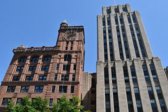 Canada-Montreal-Place d'Armes-two high-rise buildings