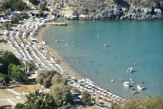 Greece-Rhodes-Lindos-beach-parasols