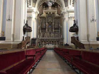 Spain-Zaragoza-Basilica of Our Lady of the Pillar-alabaster altarpiece-seats