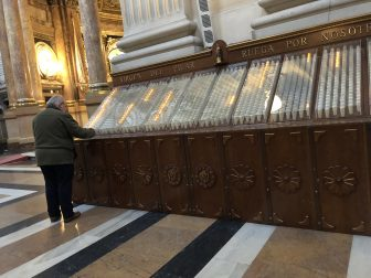 Spain-Zaragoza-Basilica of Our Lady of the Pillar-electric candles-person