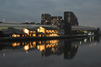 Japan-Kyushu-Fukuoka-Muromi river-lights-restaurants-reflections