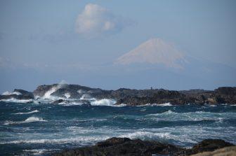 Japan-Kanagawa-Miura-Jogashima-Umanose Domon-Mt.Fuji-sea-rock
