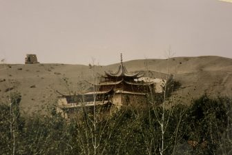 China-Dunhuang-Magao Caves-building-desert-trees