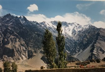 Pakistan-from Sust to Karimabad-Karakorum Highway-scenery-trees-mountains-snow caped