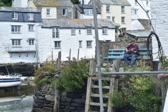 England-Cornwall-Polperro-houses-person-bench