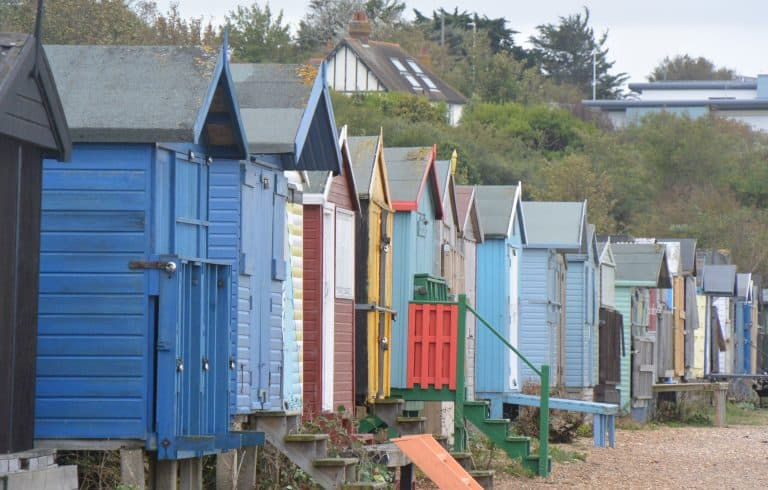 the beach huts in Whitstable