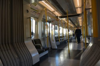 England-London-tube-District Line-inside-nearly empty