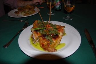 the chicken dish at the restaurant Europe in Havana in Cuba
