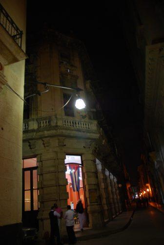 the street scene at night in Havana in Cuba