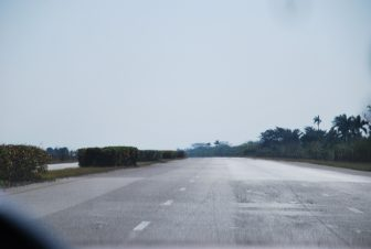 the empty motorway outside of Havana, Cuba