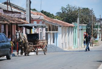 the horse carriage in the street of Rodas, Cuba