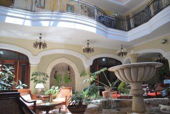 The patio of Iberostar Grand Hotel in Trinad in Cuba