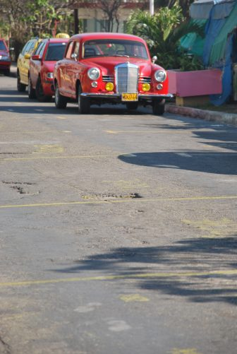 taxis in a row waiting for the customers in Varadero town
