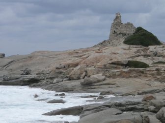 Walk on the coast of Corsica in the strong wind