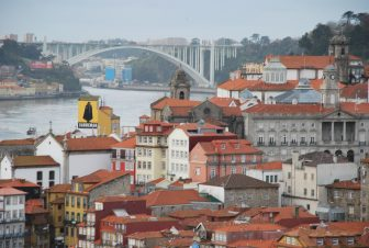 the view of Oporto from Dom Luis I Bridge