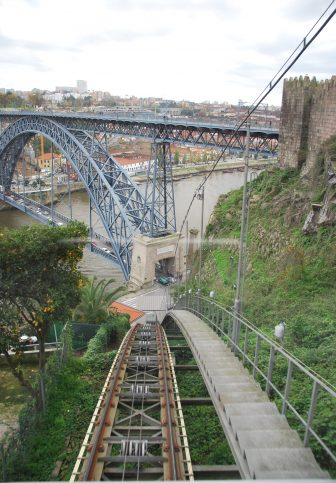 the track of the cable car and Dom Luis I Bridge