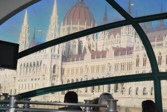 Budapest, Parliament building from boat on Danube