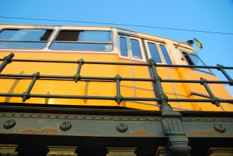 the tram run along the Danube River
