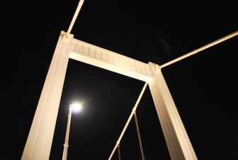 Elisabeth Bridge being lit up