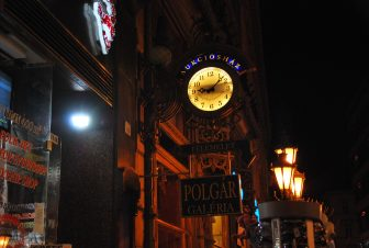 one of the main streets on Pest side at night