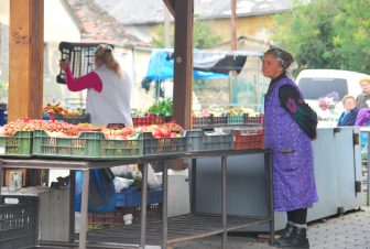 at the open air food market in Keszthely