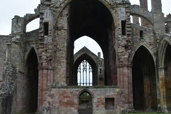 the detail of Melrose Abbey