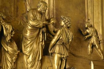 """the detail of """"Gate of Paradise"""" of baptistery of Duomo"""